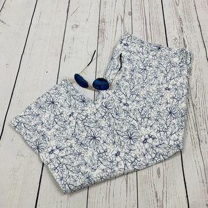 NYDJ Ariel Hi-Rise White & Navy Floral Crop Jeans